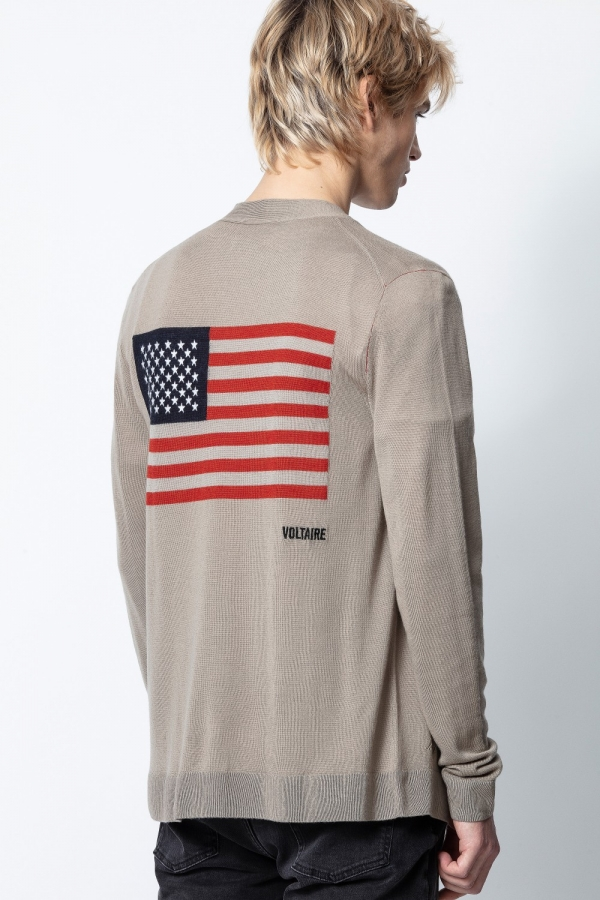 JOJO M FLAG USA INT BROD CARDIGAN